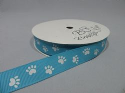Aquamarine  with White Paw Print  Satin or Grosgrain ribbon 2, 20 25 metres Double sided 16mm 15mm